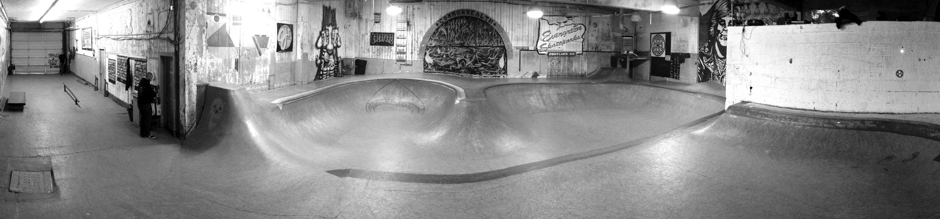 A panoramic shot of Commonwealth's skatepark.